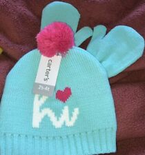 New Carter's Girls Toddler Pink Heart Blue Hat Mitten Set 2T-4T Warm Snuggly