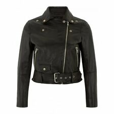 Muubaa Irwin Cropped Black Leather Biker Jacket. RRP £305. M0856. UK 10.