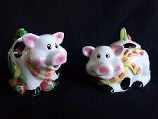 PIG CREAMER AND SUGAR BOWL Set with Lid Black and White DSI Porcelain