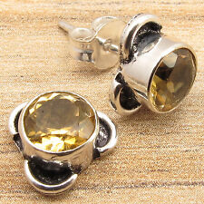 Silver Plated ONLINE SHOPPING Jewelry, Unseen CITRINE Stone Stud Earrings Pair