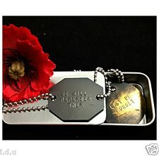 GENUINE AUSTRALIAN OZ MILITARY BRASS DOG TAGS ARMY ID+STORAGE TIN CASE+FREE TEXT