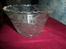 JELLY JAR BOWL NUT DIP , ETCHED WTIH CUT PATTERN NEAT
