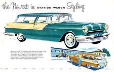 1955 Pontiac Safari Dealer Showroom  Wall Illustration 11 x 17 Giclee Print