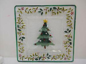 Pfaltzgraff Winterberry Square Glass Platter Christmas Tree Holly Decor