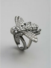 NWT Guess Silver Metal & Clear Rhinestones Bug Shaped Ring, Size 7