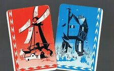 Playing  SWAP Cards 2 VINT U.K. DECO COTTAGE/HOUSE & WINDMILL COTTAGE PAIR 284