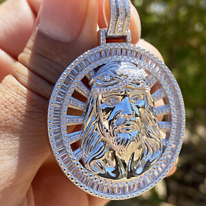 "Real Solid 925 Sterling Silver Jesus Piece Pendant Iced Medallion Round 1.5"" in"