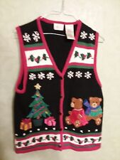 Kathie Lee Collection Christmas Women's Sweater Vest  Blue M Button Front