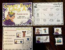 Literacy Bag Long Vowel A Puzzles Resource Supplies phonics center Teacher Made