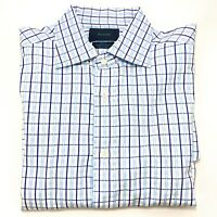 Facconable L/S French Cuff Button Down Shirt Blue/White Plaid Mens Size 16.5 L