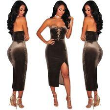Abito Velluto aperto Nudo scollo Spacco Aderente Party Velvet Lace up Dress XL