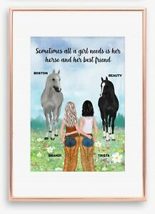 A4 BFF Best Friend Horse and Rider Wall Print/Sign Unique Gift Custom Keepsake