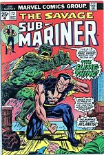 The Savage Sub-Mariner 72 FN Marvel Comics Missing one coupon 1974