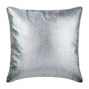 Decorative Faux Leather 55x55 cms Sofa Cushion Silver - Silver Leather Strokes