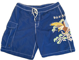 Vintage RALPH LAUREN Polo Embroidered Eagle Mens Swim Swimming Trunks Shorts 36