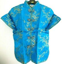 CHINESE BLUE GOLD BLOSSOM WOMEN TOP JACKET DRESS  UK SIZE 12-14 EU 40 US 8 PARTY