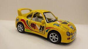 Funny Yllow Kinsfun Turbo Racers Car Toy Model Diecast Metal Open Doors New