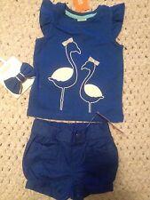 Gymboree Baby Girl  Flamingo Outfit 6-12m Shorts Shirt Hair Clip NWT Free Ship