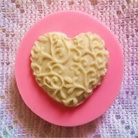 Heart Love Shaped Silicone Chocolate Lace Fondant Cake Mould Soap Mold Decor Hot