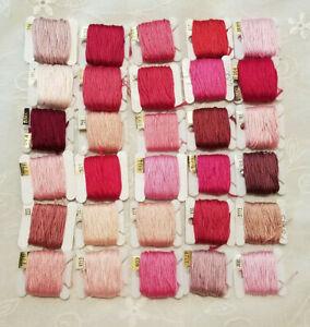 DMC Floss Lot 30 On Bobbins Pink/Red