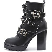 Plateau Damen Schwarze Blockabsatz High Heels Ankle Boots Stiefeletten Nieten