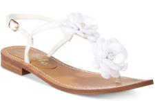 $80 size 8 Calisto Poli White Thong Flat Flower Embellished Sandals Shoes NEW