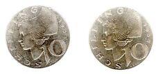 10 Schilling Österreich 1957/1958 Silber in ss+ bzw. ss/vz.