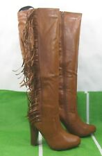 "new ladies Tan 4.5""block High Heel Round Toe Side frill Sexy Knee Boots Size 8.5"