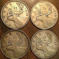1942 1943 1944 1945 LOT OF 4 CONSECUTIVES CANADA SILVER 25 CENTS COIN
