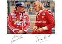 MOTORSPORT 1976 FORMULA 1 F1 LEGENDS JAMES HUNT & NIKI LAUDA SIGNED REPRINT