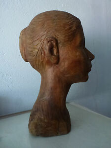 "Original Sculpture ""Head of a girl"" USSR artist V. Turta, Soviet Art, Wood"