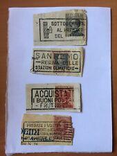 gruppo 4 annulli postali con francobolli epoca Regno