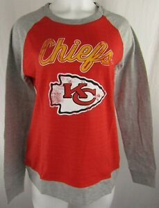 Kansas City Chiefs NFL Women's Distressed Lightweight Crewneck Sweatshirt