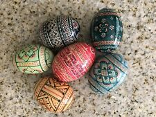 6 Hand painted decorative wooden eggs Collectibles With Marks Rare