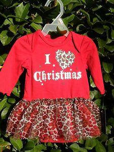 Faded Glory Infant Baby Girl I Love Christmas Creeper Tutu Ruffle Animal Print