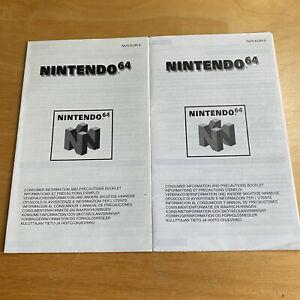2 X Nintendo 64 N64 Consumer information Booklet PAL EUR Box Inserts