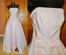 Vtg 50s 60s SATIN Beads Embroidery Strapless Formal Evening Wedding DRESS GOWN