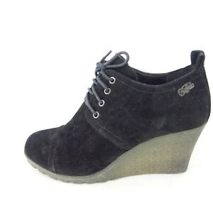 Buffalo Damen Schuhe Damenschuh Halbschuh Loafer Wedge Schwarz Kunstleder 40 Neu
