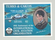 Turks & Caicos #660 ICAO, Amelia Earhart, Aviation 1v S/S Imperf Proof