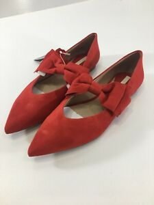 H & M Women's Pointed Toe Genuine Suede Slide On Flats W/ Bows Red US:9.5 NWT @