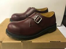 Dr. Martens Joey Monk Shoe Steel Toe Buckle US Men 9 Women 10 Cherry Red