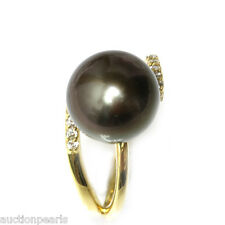 Diamond Tahitian Pearl Ring Black 18kt Gold 12mm