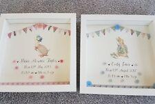 Personalised Peter Rabbit Box frame. Nursery. Birth Gift xmas Beatrix Potter