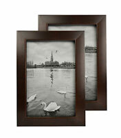 Set of 2, 4x6 Walnut Table-Top Picture Wood Frame with REAL GLASS & Easel stand