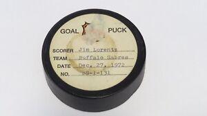 1972-73 Jim Lorentz Buffalo Sabres Game Used Goal Scored NHL Puck -Rangers Logo