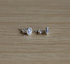 Sterling silver stud earrings with 5mm natural faceted Labradorite gemstones
