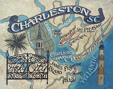 Charleston SC  Map style Print vintage style art south carolina lighthouse beach