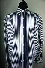 Vtg Men Dress Shirt Button Down Ralph Lauren Sport  White& Blue Stripes Sz XL