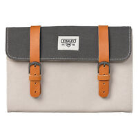 Stanley Tools - Grey Canvas Hanging Wash/Dopp Roll Kit Bag with Leather Trim