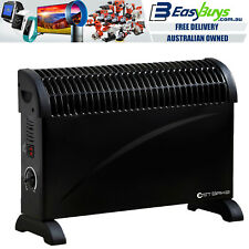 Large Electric Heater Black 2000W 3 Heat Portable Convection Panel Thermostat